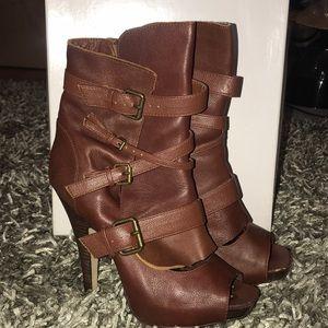 Bakers Brown Leather Peep Toe Booties